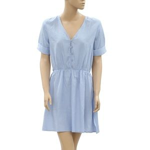 Victor B Hipy Shift Buttoned Elastic Blue Dress M